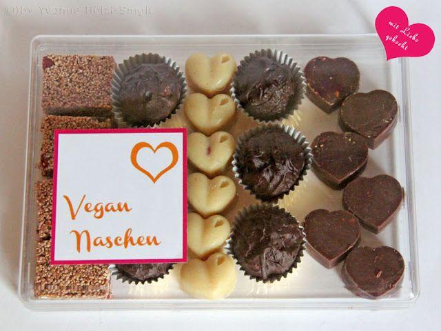 Geschenk: Vegane Pralinen bzw vegane Naschereien inklusive free Printable Etikett