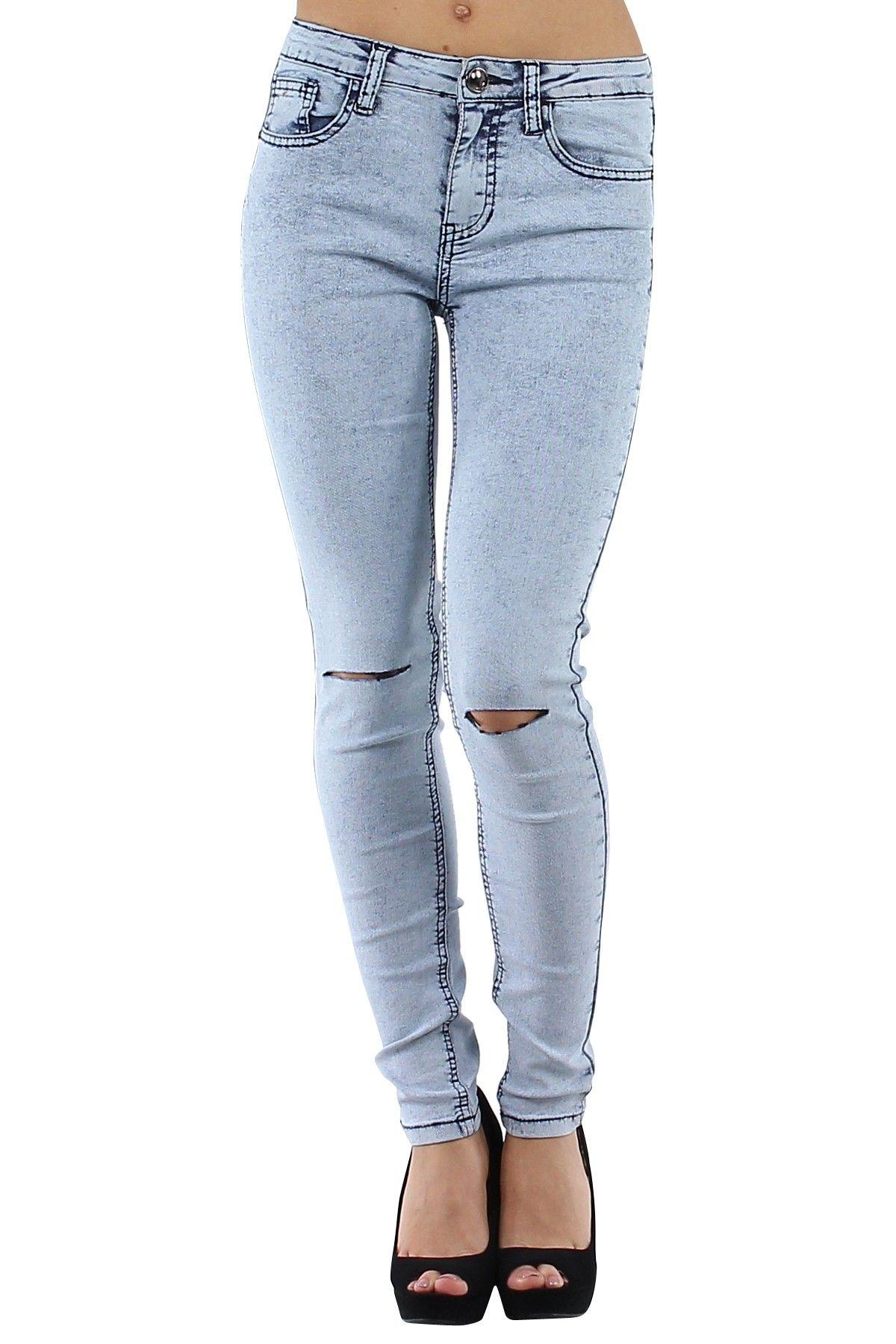 4ffe850a140ec Pantalón vaquero de mujer Jeans muy ajustados con rotos en ambas rodillas  Condición  Nuevo Composición