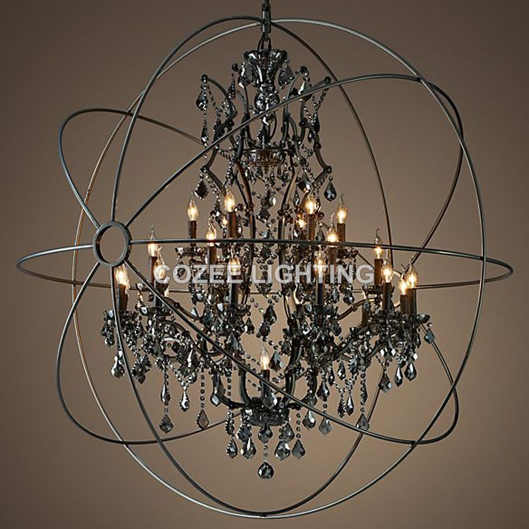 Vintage smoky crystal chandelier hanging lighting orb globe matt cheap black chandelier buy quality chandelier lighting directly from china hanging crystal chandelier suppliers vintage smoky crystal chandelier hanging aloadofball Images