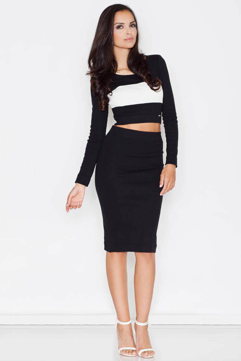 Ensemble jupe crayon et crop top, noir   habits 2b3f30a59c5f