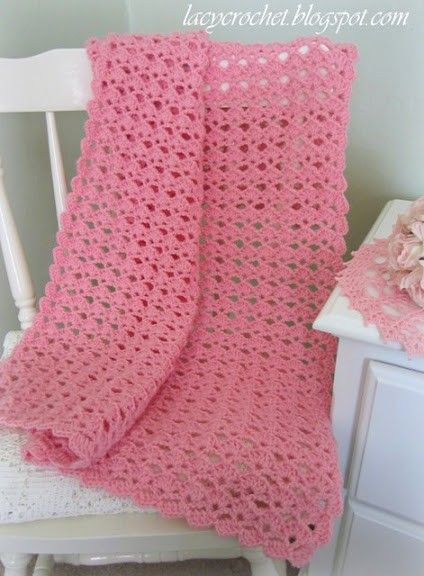 Free Pattern] Very Pretty Baby Blanket And A Lovely Shells Stitch Custom Lacy Baby Blanket Crochet Pattern