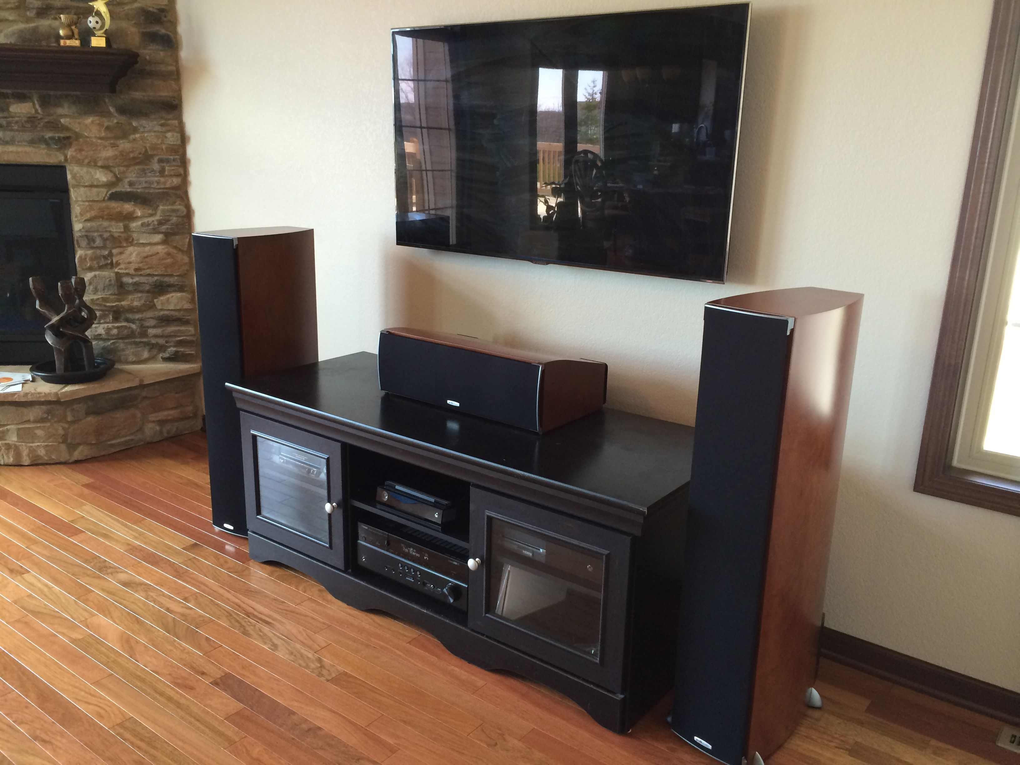 Premium Home Theater System With Wall Mounted Flat Panel TV And Floor Standing Speakers