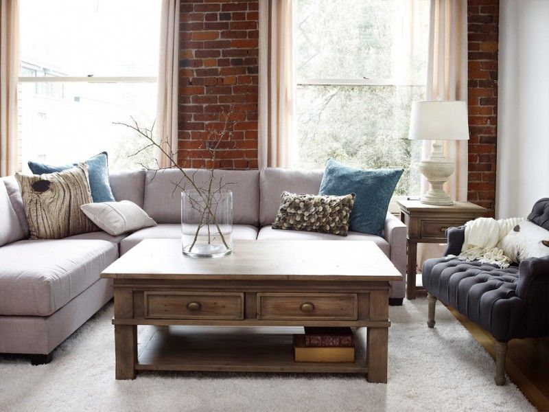 Urban Barn Style Living Room Furniture Consisting Of Soft Grey Couches With Colorful Accent Pillows Navy Blue Chair Hardwoo Living Room Sets Room Set Furniture