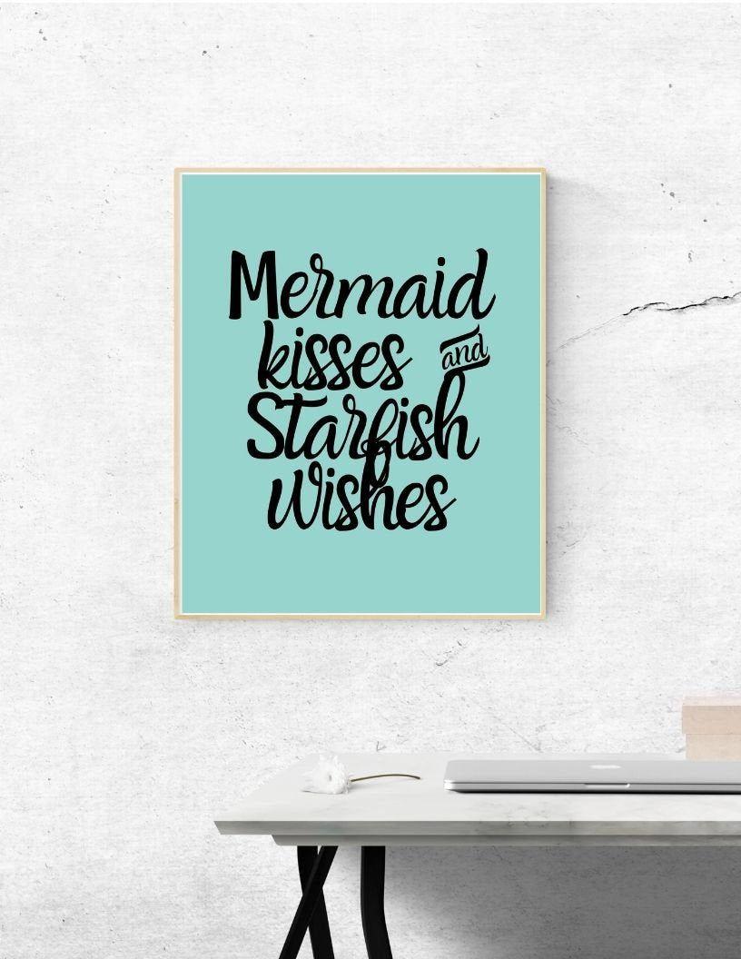 Mermaid Vibes Digital Print - Wall Art, Modern Art, Home Decor, Bedroom Decor, Mermaid, Bathroom Decor, Mermaid Kisses and Starfish Wishes #mermaidbathroomdecor