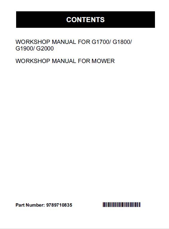 Kubota G1700 G1800 G1900 G2000 Lawn Mower Workshop Manual Mower Lawn Mower Kubota