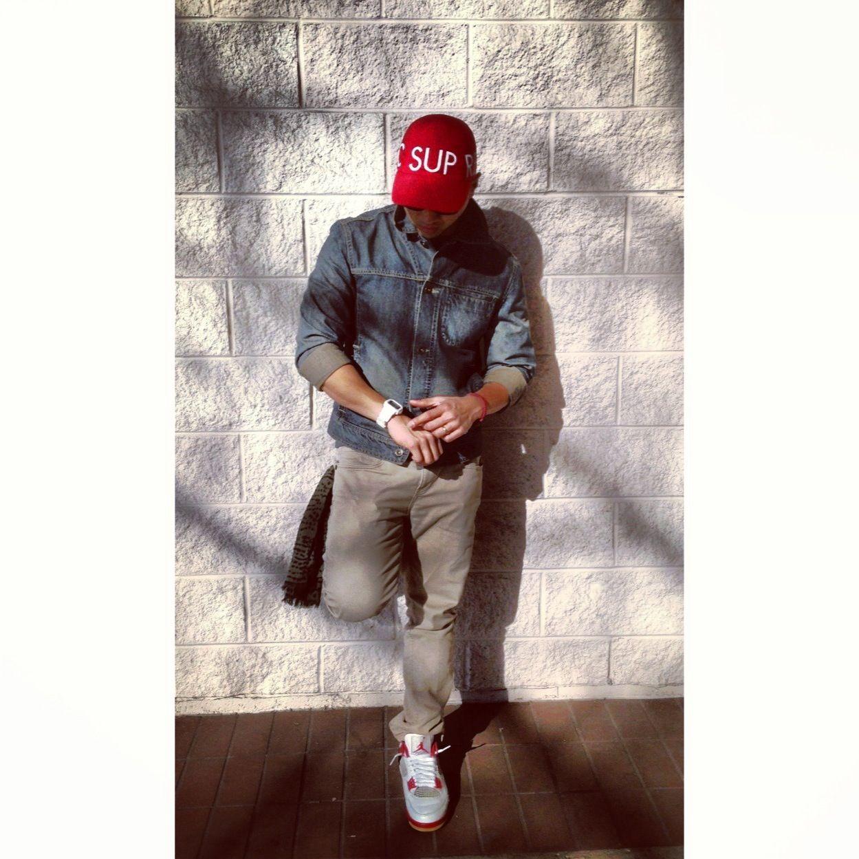 1ffec70d62b Jean jacket khaki pants jordans sneakers supreme hats all day ...