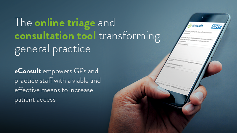 eConsult is a online triage and consultation tool transforming NHS general practice. Secure and scalable, eConsult will work for a practice of any size