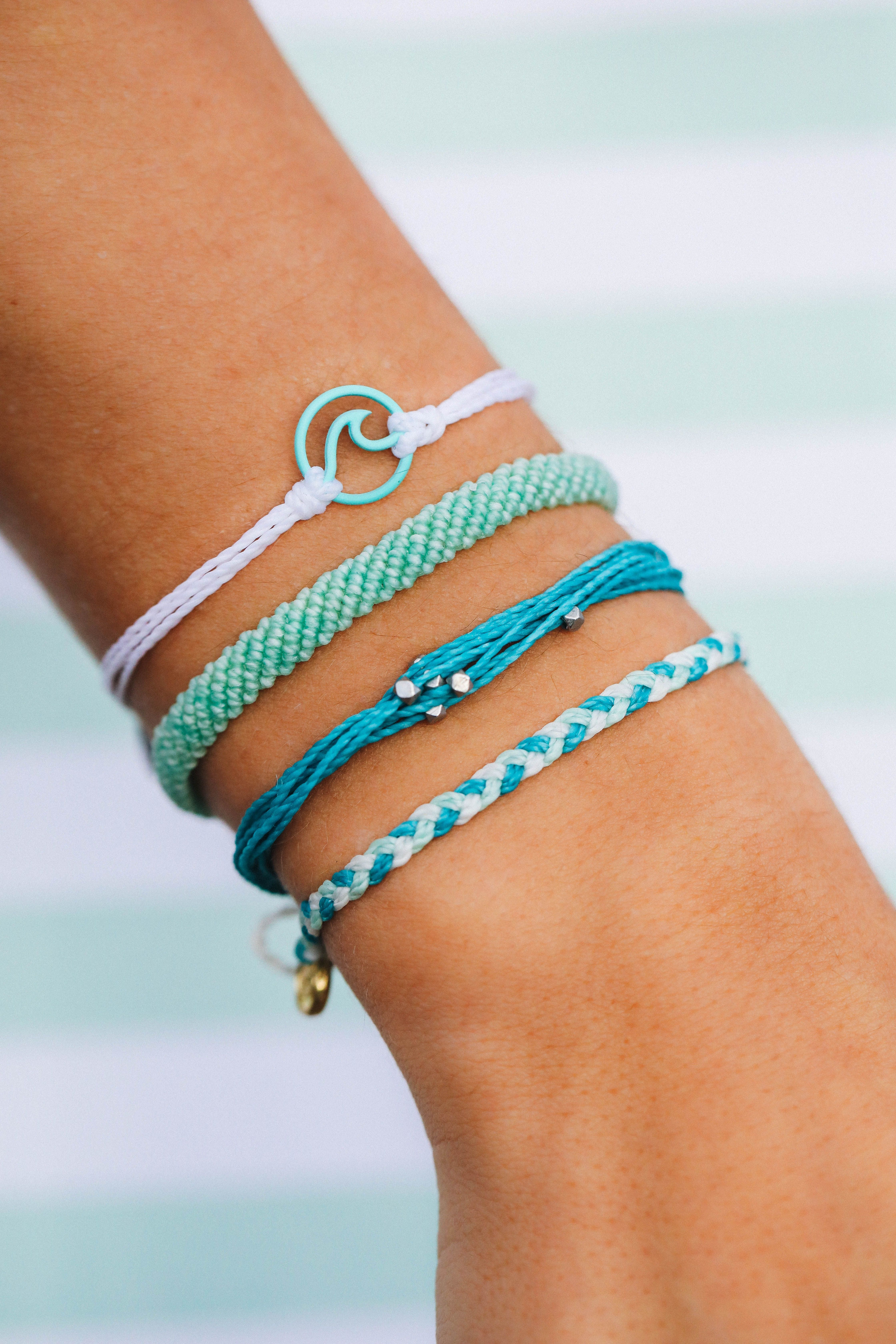 Aqua Blue Friendship Bracelet Gold-tone Dainty Layer Stack Ocean Blue