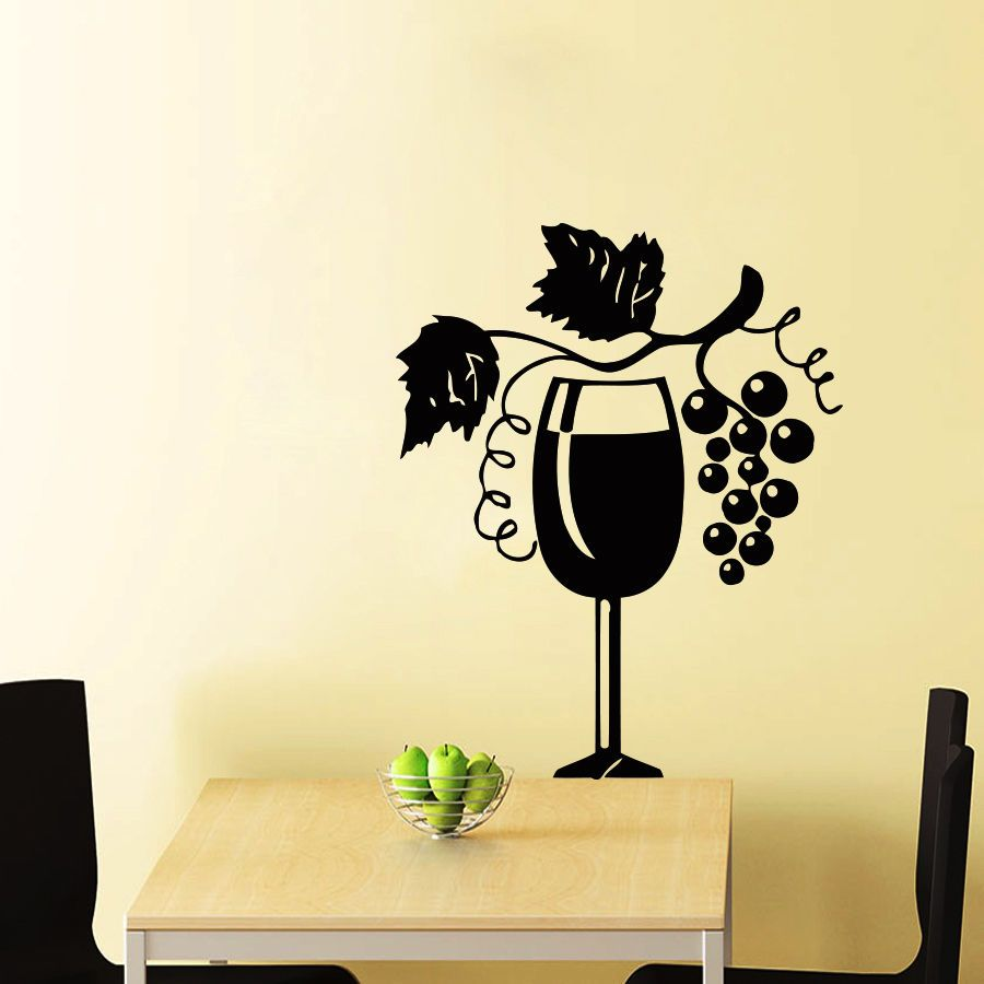 Wall Stickers Vinyl Decal Grape Fruit Vine Cute Decor For Kitche ...