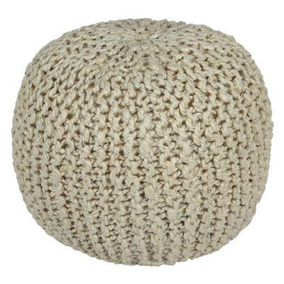 White Pouf Ottoman Ivy Bronx Anemone Rope Cotton Upholstered Pouf Ottoman Upholstery