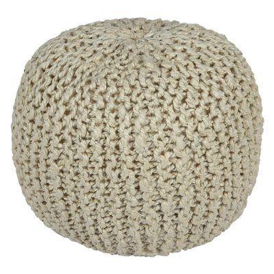 White Pouf Ottoman Ivy Bronx Anemone Rope Cotton Upholstered Pouf Ottoman Upholstery