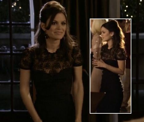 Zoe's black lace dress from Hart of Dixie. Outfit Details: http://wornontv.net/2563/ #HartofDixie