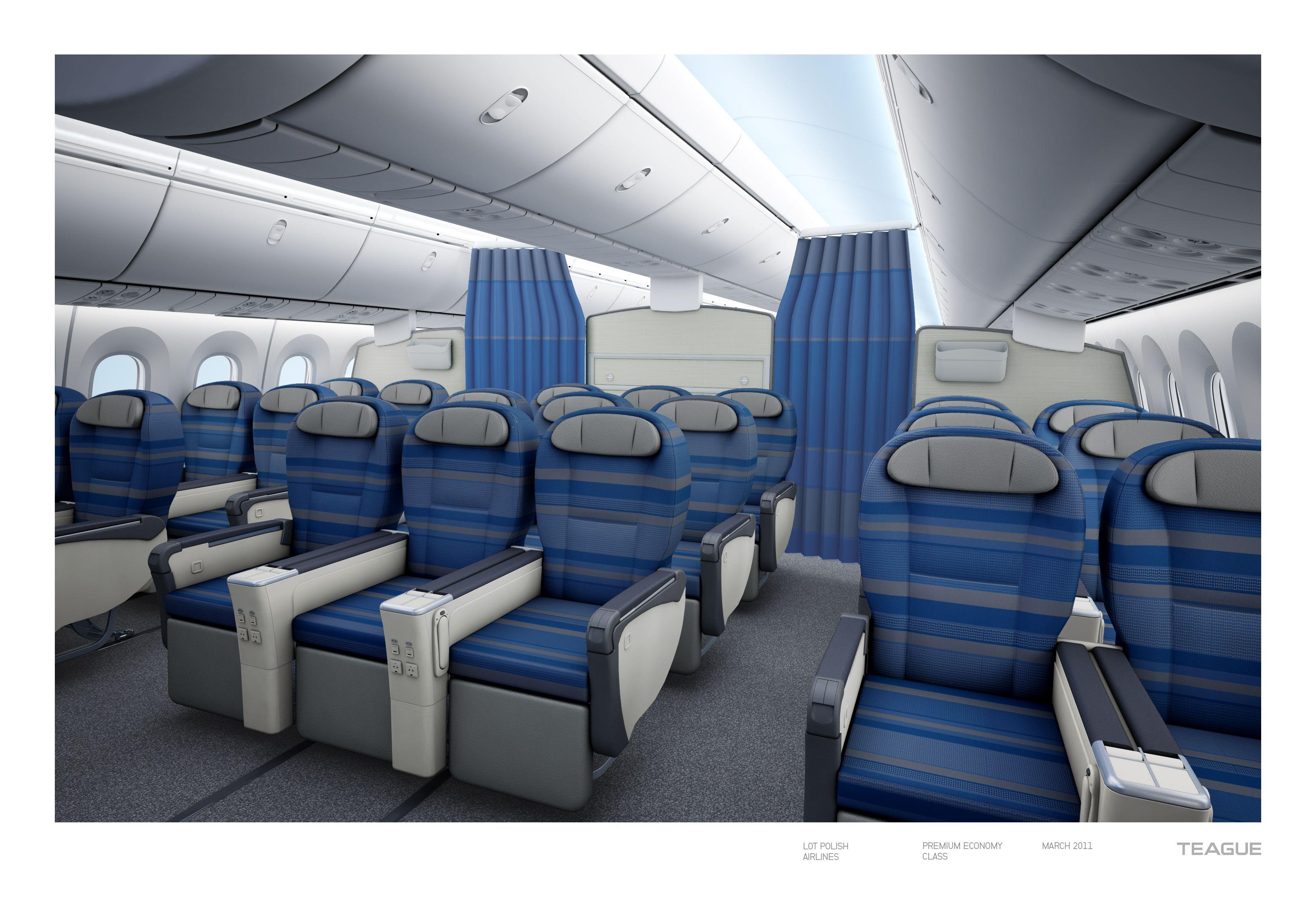 Lot 787 Premium Economy Airplane interior, Boeing 787