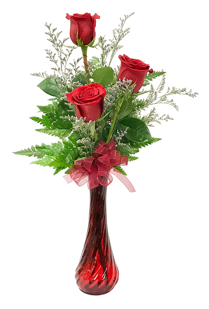 3 Roses In A Vase Accented With Greenery And An Accent Flower Approximately 10 1 Flower Vase Arrangements Fresh Flowers Arrangements Bud Vases Arrangements