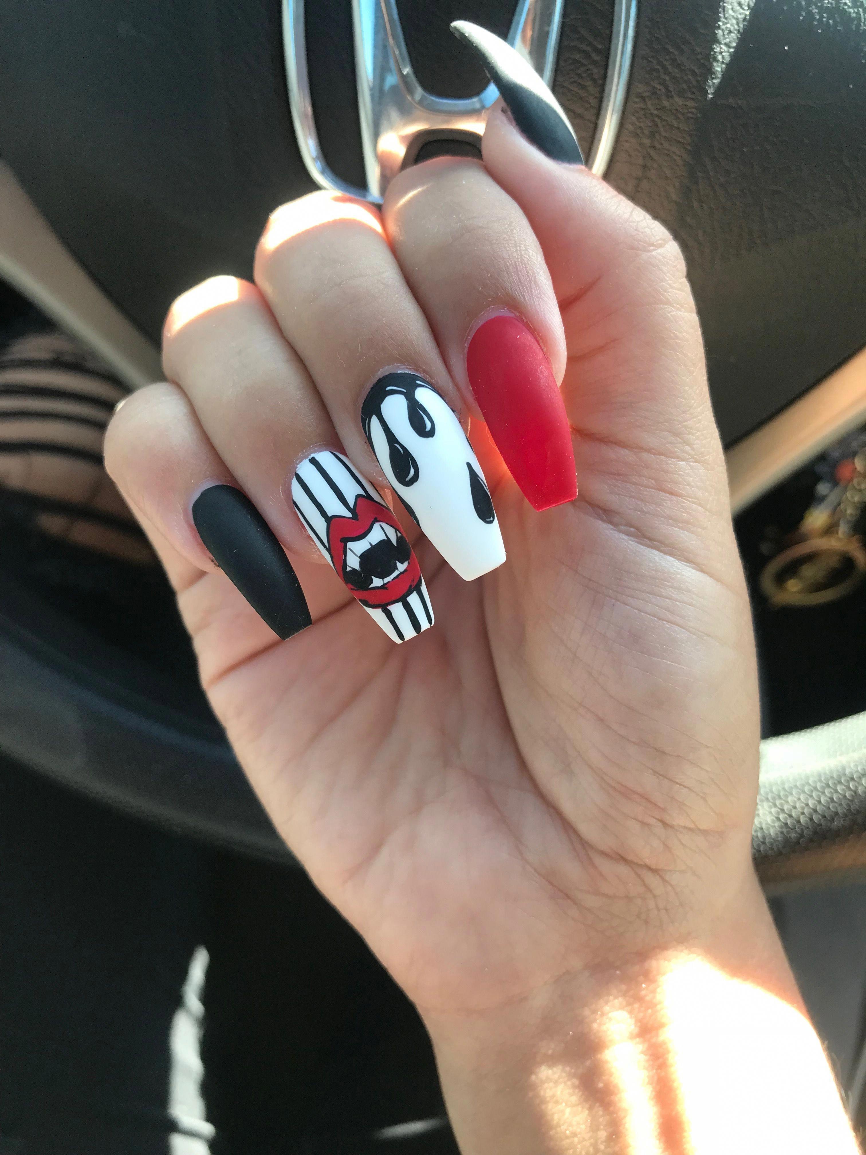 Halloween nails lip nail art coffin nails blood drip nails ...