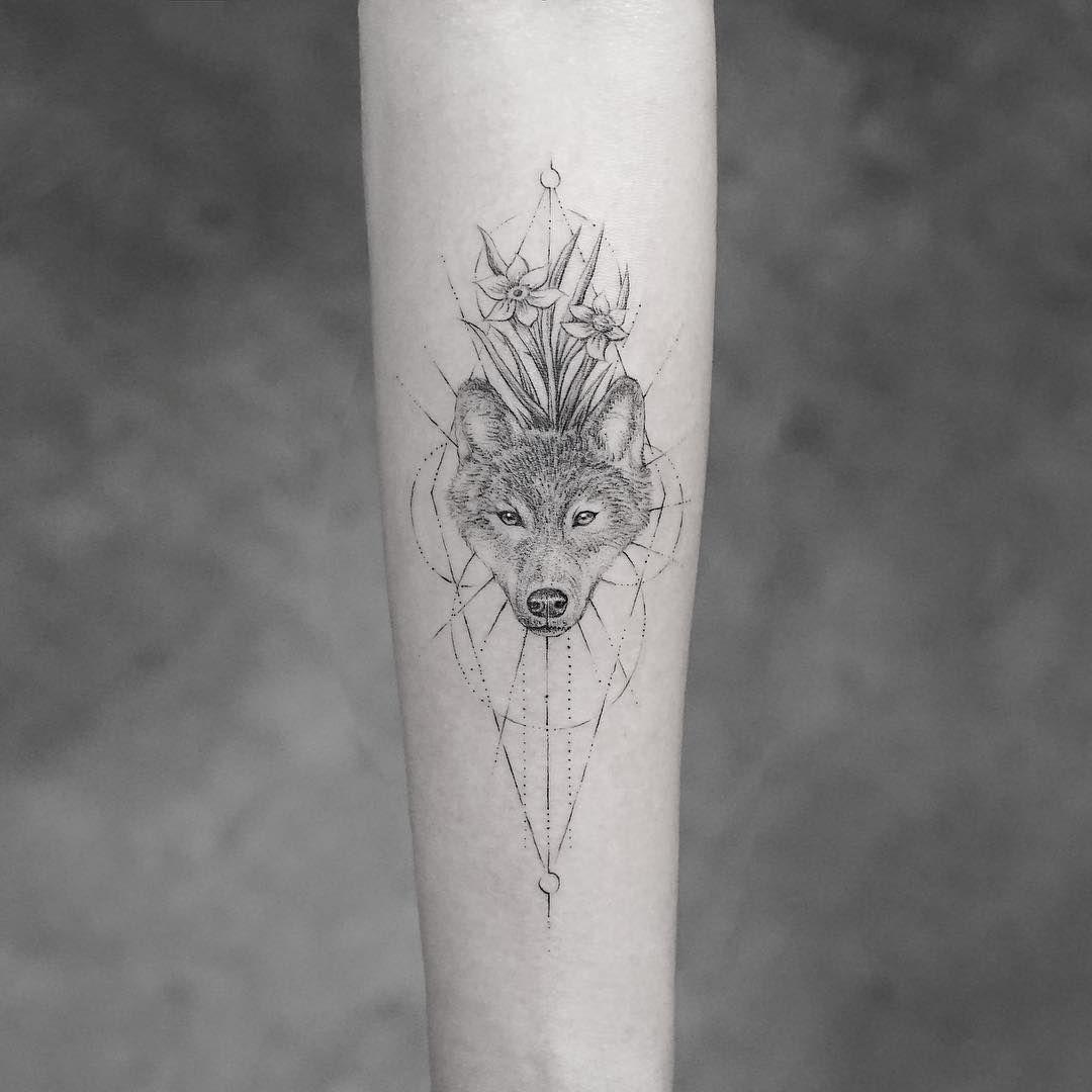 Line Art Wolf Tattoo: Bang Bang Tattoo (@bangbangnyc