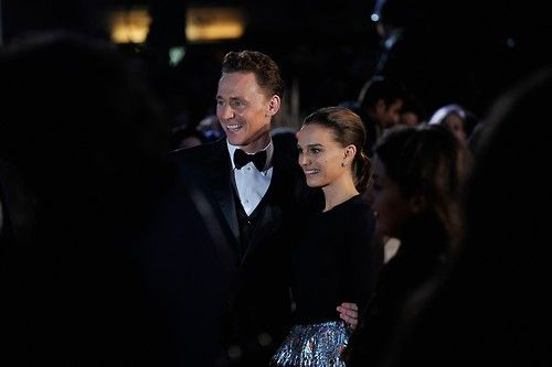 "Natalie Portman and Tom Hiddleston, at ""Thor: The Dark World"" premiere in London, Oct 22, 2013"