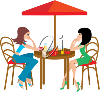 iclipart clip art illustration of two young woman in a cafe rh pinterest com