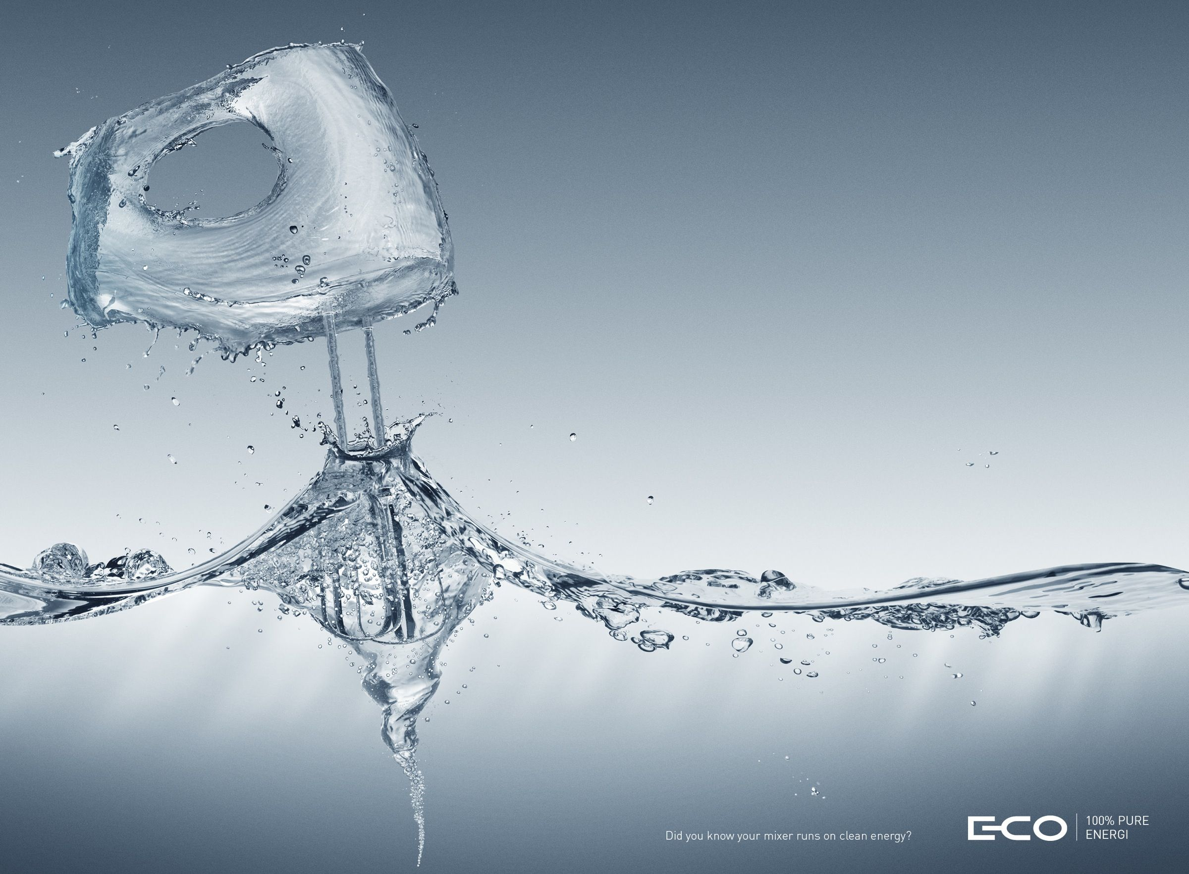 E-Co: Mixer 100% pure energy. Advertising Agency: Involve!, Oslo, Norway Creative Director / Art Director: Jørgen Marthinsen Copywriter: Espen Aarbake Johnsen Illustrator / Photographer: Igor R Nilsen Project manager: Sha Pakdel Published: May 2015