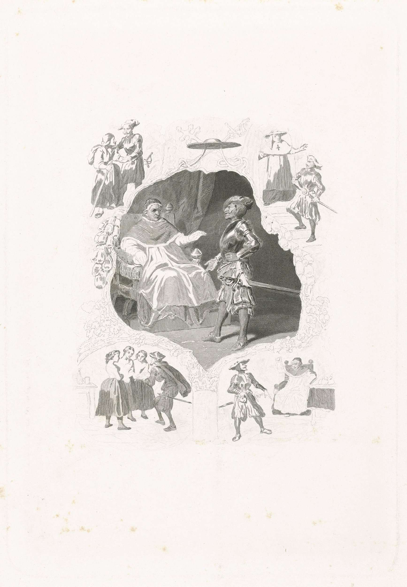 Johannes de Mare | Man in harnas voor een paus, Johannes de Mare, Tony Johannot, 1816 - 1889 | Man in een harnas staande voor en paus gezeten op een stoel, omgeven door een cartouche van kwasten met bovenaan een kardinaalshoed. Hieromheen nog vier andere scènes. Scène uit een chanson van Pierre-Jean de Béranger.