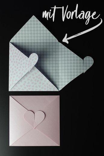 Kuvert mit Herz zur Hochzeit [Bastelvorlage & Plotterfreebie #håndarbejde