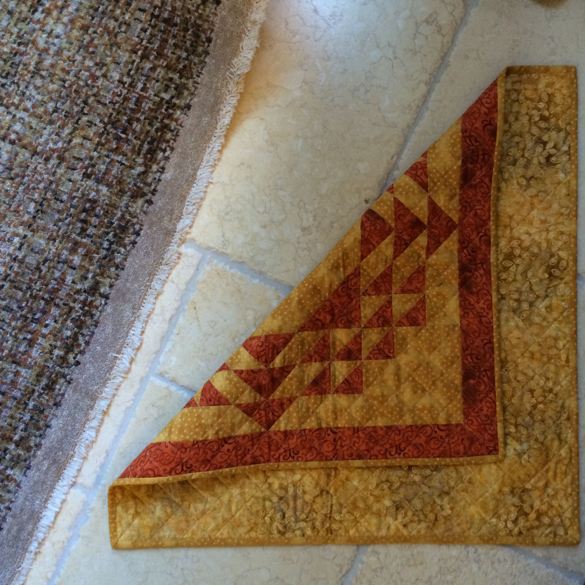 Front and back - table topper from scraps, batik backing, quilted myself