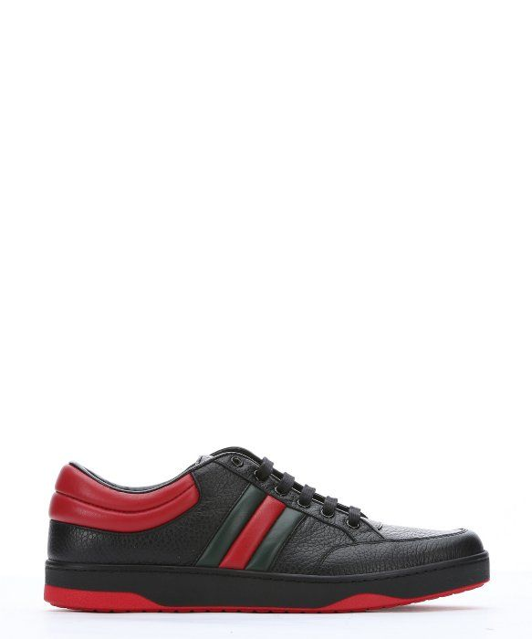 9c8d74f9f GUCCI Black And Red Leather Web Stripe Low-Top Sneakers. #gucci #shoes # shoes