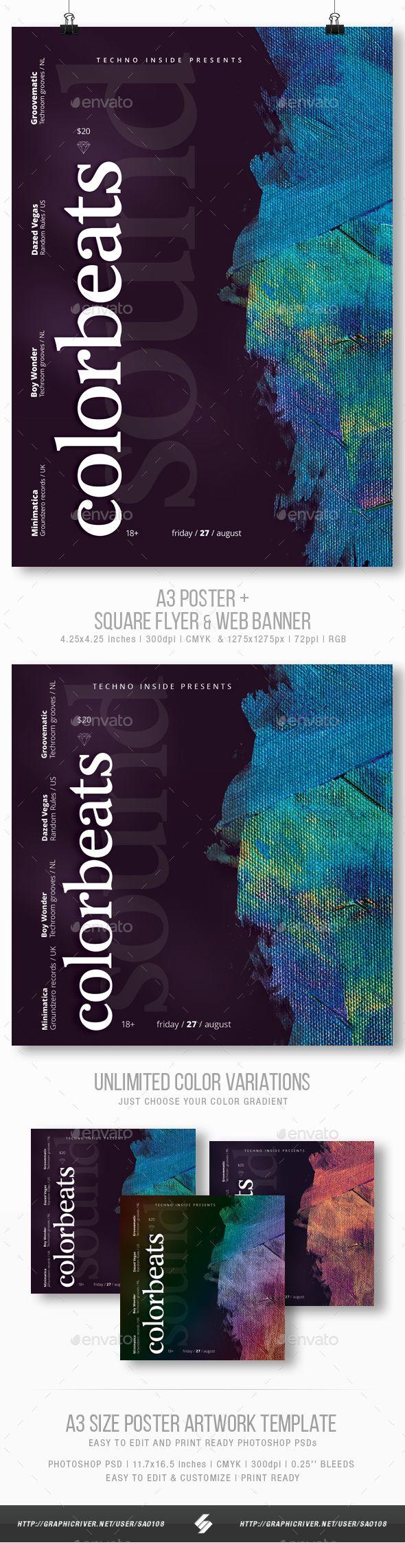Colorbeats - Minimal Party Flyer / Poster Template A3. Professional club party flyer template. #flyer #design #printDesign #party #club #print #abstract #alternative #artwork #breakbeat #creative #deephouse #dj #dnb #DrumAndBass #dubstep #electro #event #HouseMusic #instagram #liquidfunk #minimal #nudisco #photoshop #poster #progressive #session #techhouse #techno #trap #typography #WebBanner