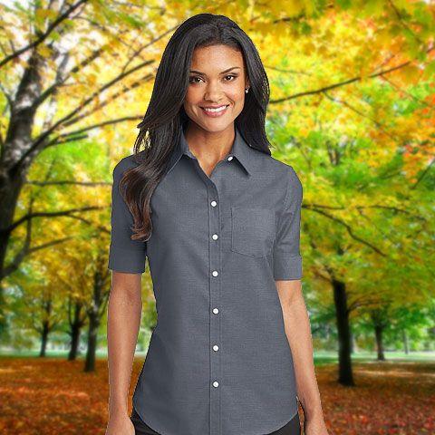 54c3f3daa05ef4 Port Authority Ladies Short Sleeve SuperPro™ Oxford Shirt-L659 ...
