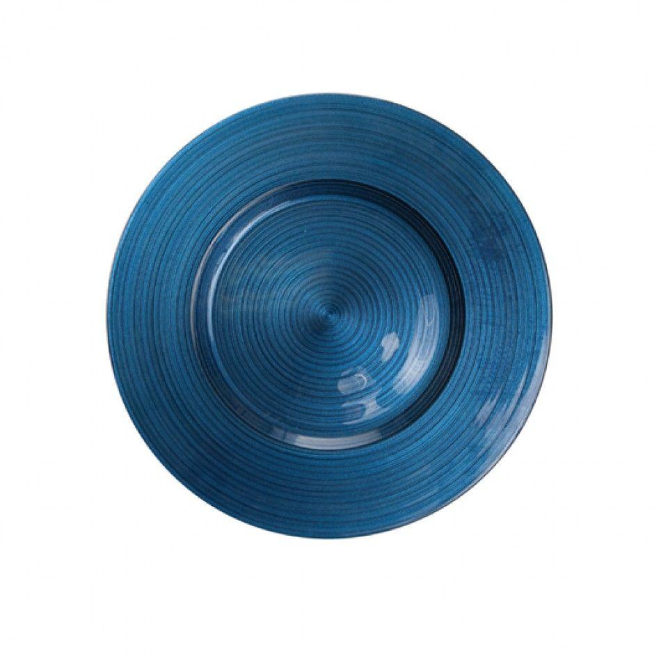 Ripple Glass Charger Plates™   Navy Blue BULK (4 Plates) [403384 Ripple
