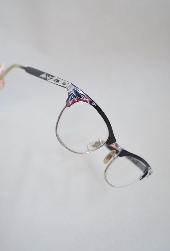 359b3873b3 1950s Black aluminium etched spectacle frames   50s carved metal cat ...