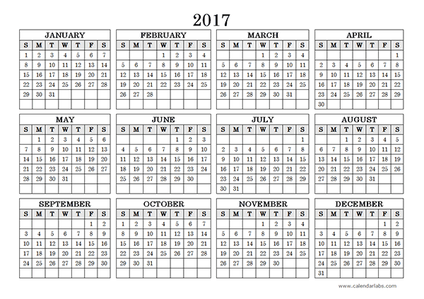 Yearly Calendar Landscape   Printables