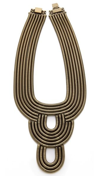 AUDEN Lennox Bib Collar Substantial strands of snake chain form a - statement form