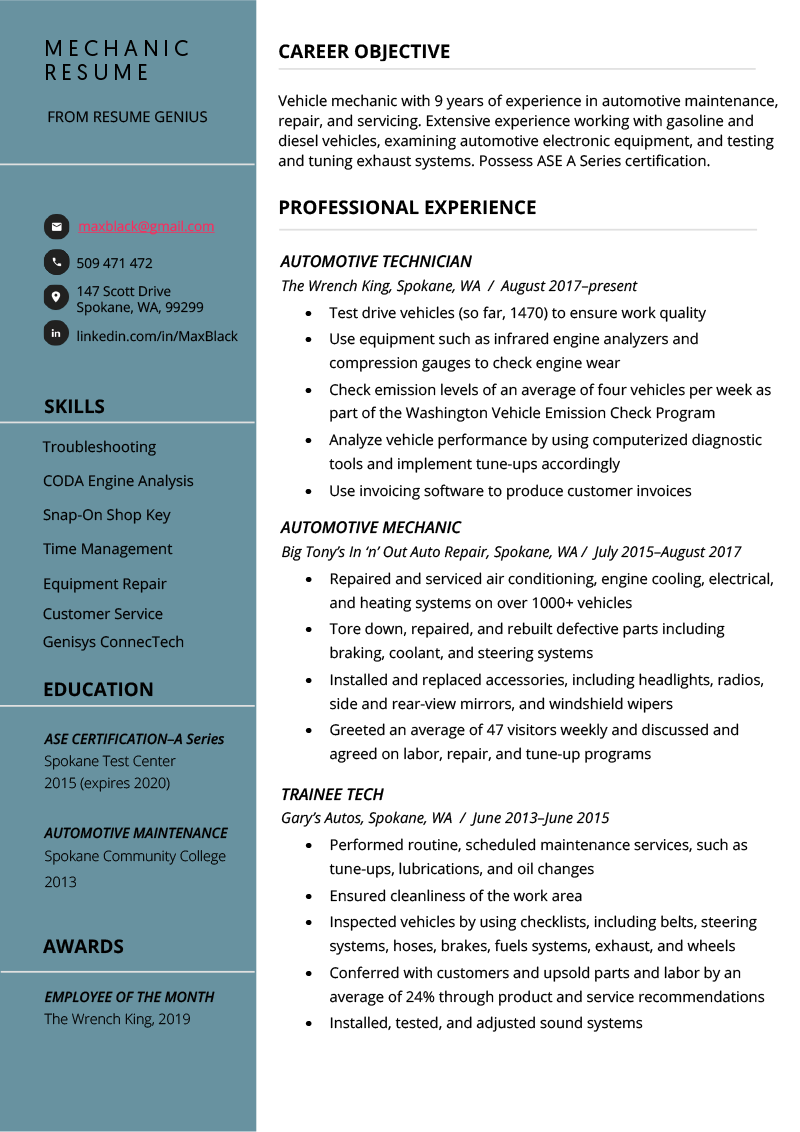 Mechanic Resume Example & Writing Tips Resume examples