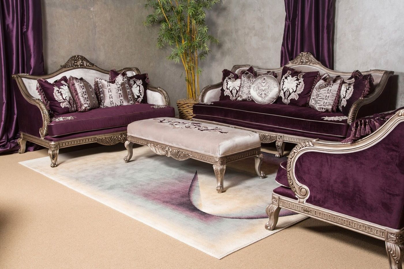 Lisette Antique Style Palace Sofa Loveseat In Royal Purple Silver Aico Furniture Living Room Sets Carved Sofa