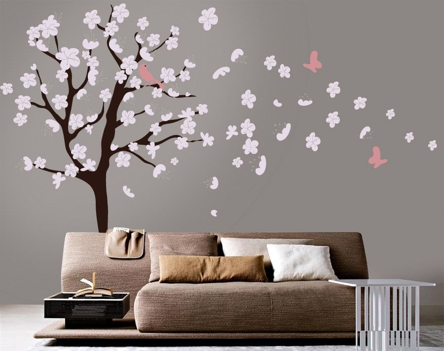 Tree Wall Decal White Cherry Blossom Wall Decal Flowers - Custom vinyl wall decals flowers