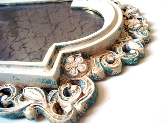 Vintage Ornate Mirror Tray Shabby Chic Faux by WillowsEndCottage