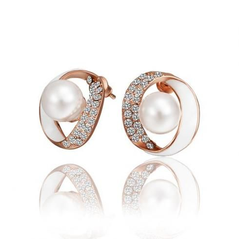 Rose Gold Stud Earrings With Crystal Zircon And Pearl Inexpensive For Party Inalis