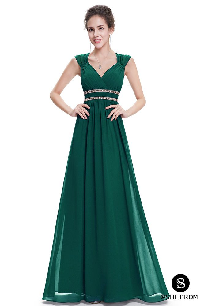 Dark Green V-Neck Beaded Waist Chiffon Long Prom Dress