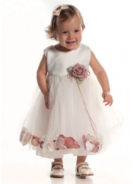 dbb45a76f91 Ivory baby flower girl dress with dusky pink petals 6-24m