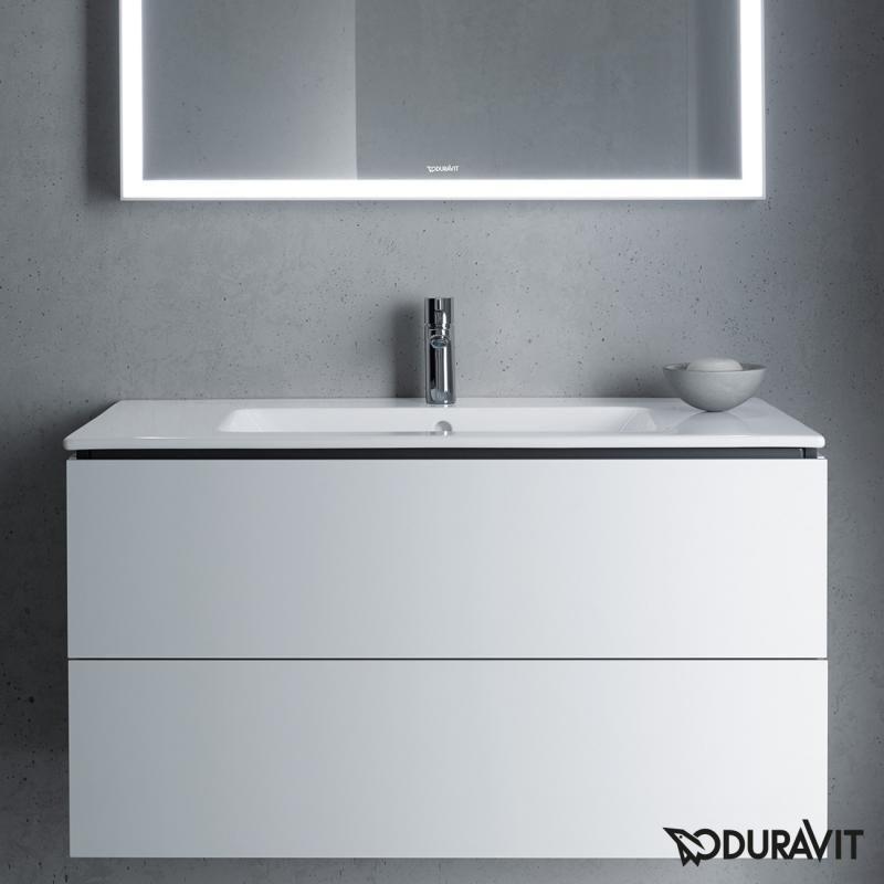 duravit l cube der waschtischunterschrank ist mit 2 ausz gen ausgestattet mit denen sie leicht. Black Bedroom Furniture Sets. Home Design Ideas
