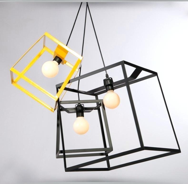3 Cube Ceiling Light Modern Minimalist Box Frame Pendant Geometric