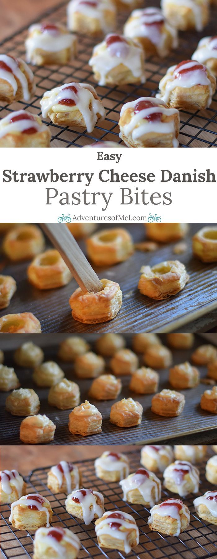 Satisfy your sweet tooth with Easy Strawberry Cheese Danish Pastry Bites. Made with bite-sized Puff Pastry Cups, they're so easy to make and so delightfully scrumptious, allowing for moderation, as well! #puffpastry #bitesized #cheesedanish #pastry #strawberry #ValentinesDay #dessert
