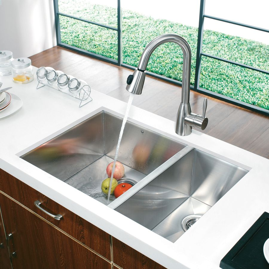 Shop Vigo 29 In X 20 In Stainless Steel Double Basin Undermount Commercial Kitchen With Images Undermount Kitchen Sinks Contemporary Kitchen Sinks Double Bowl Kitchen Sink