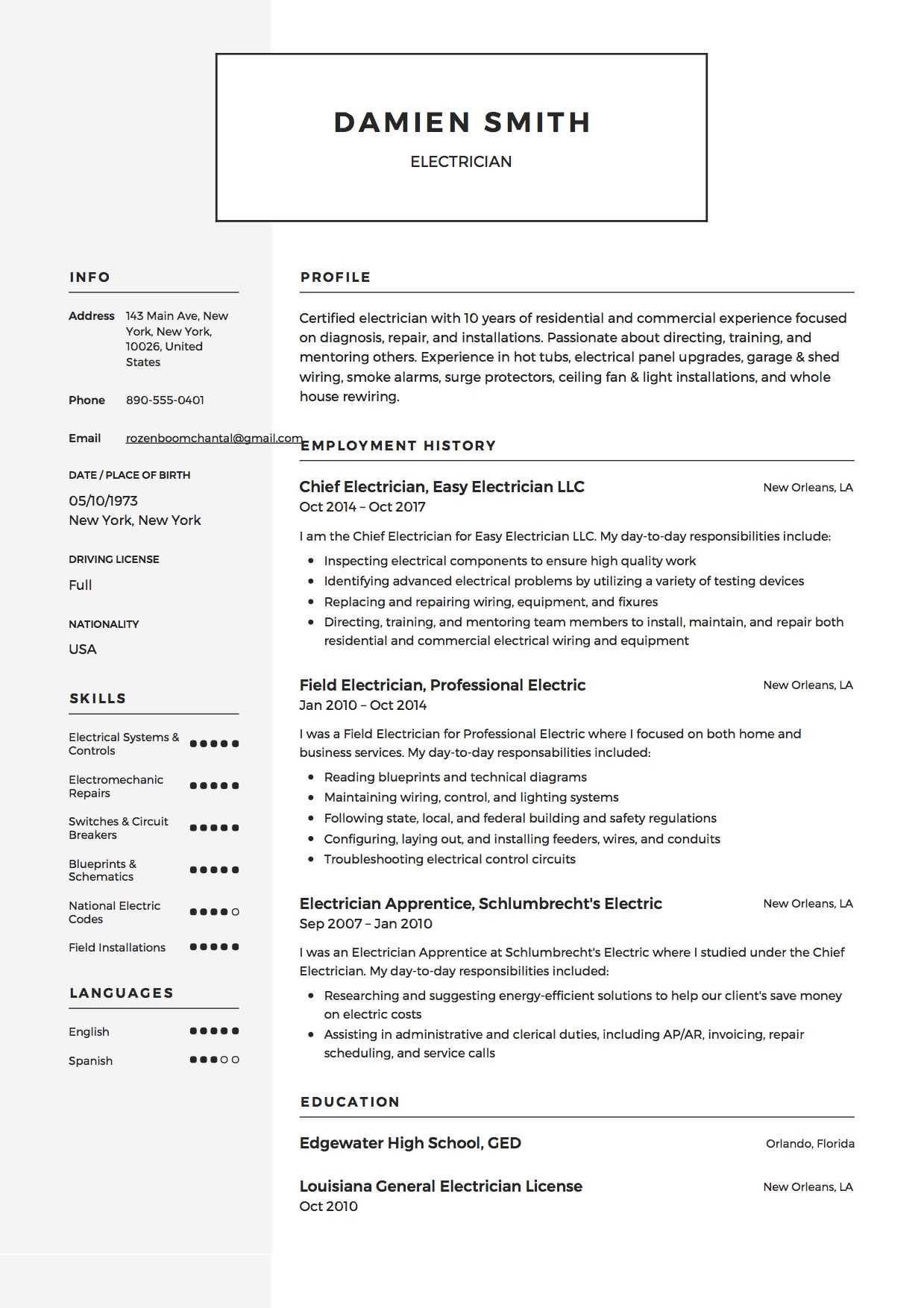 Free Electrician Resume Sample, Template, Example, CV