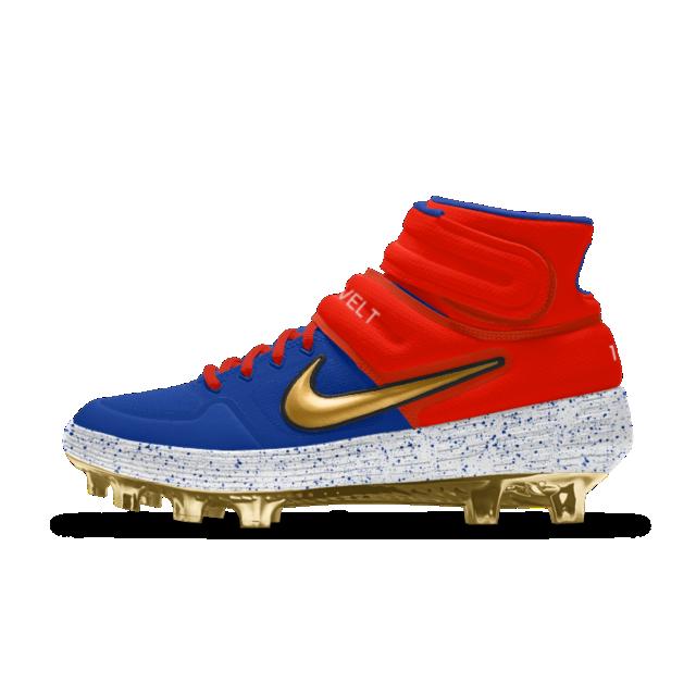 Nike Alpha Huarache Elite 2 Mid Metal Premium By You Baseball Cleat Baseball Cleats American Football Cleats Baseball Shoes