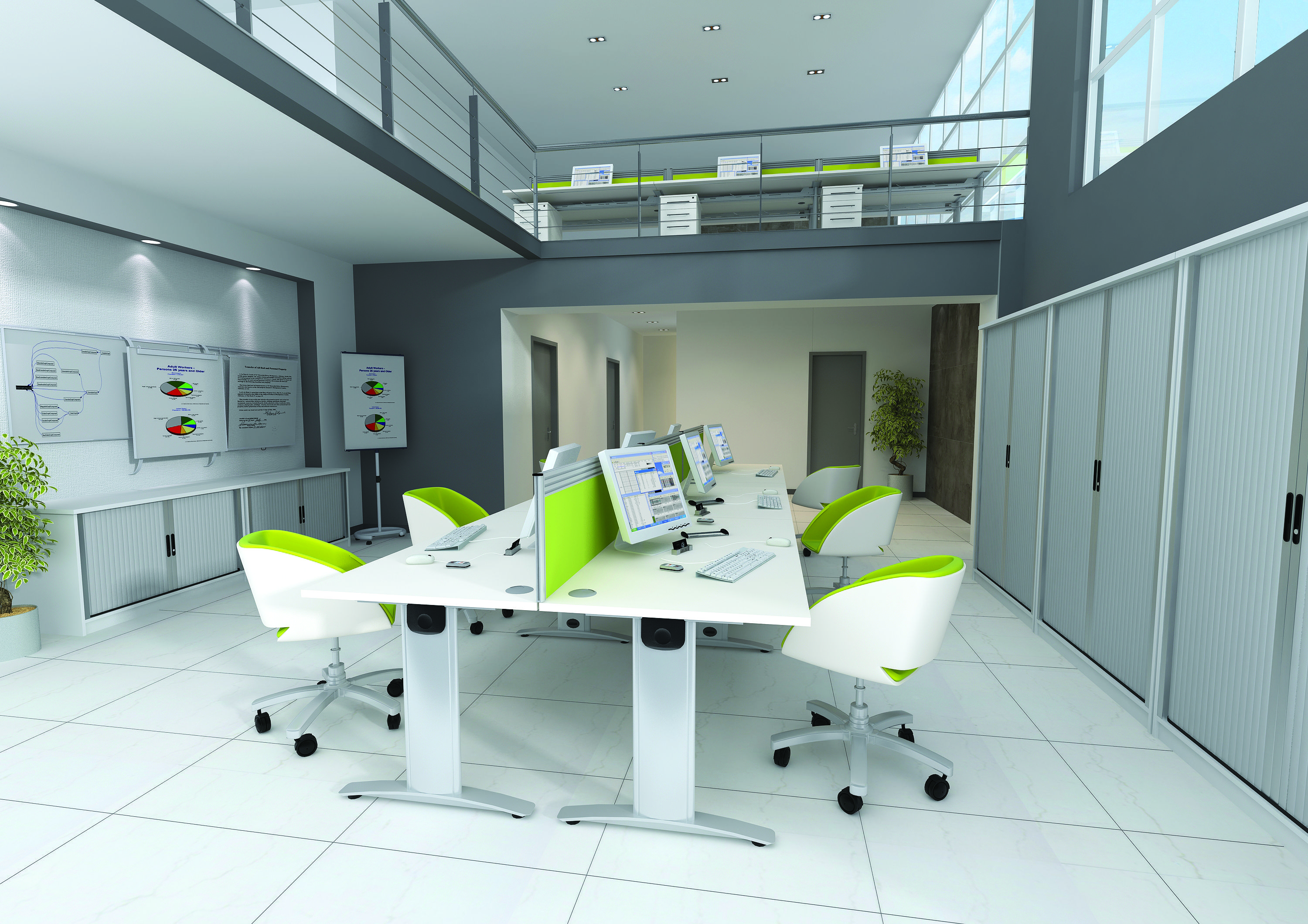 White office furniture with tub style chairs