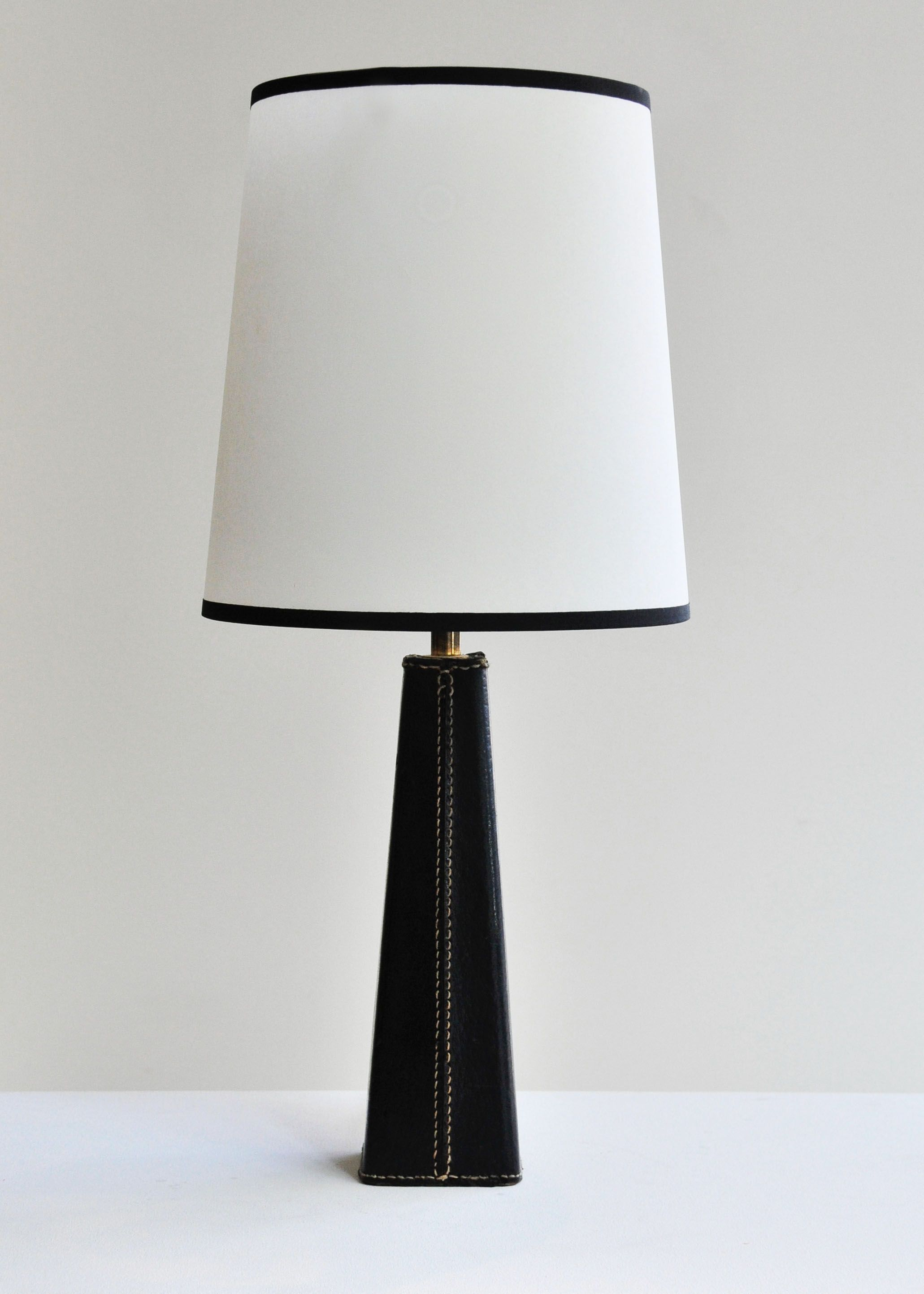 1950u0027s French Stitched Leather Table Lamp | Rose Uniacke