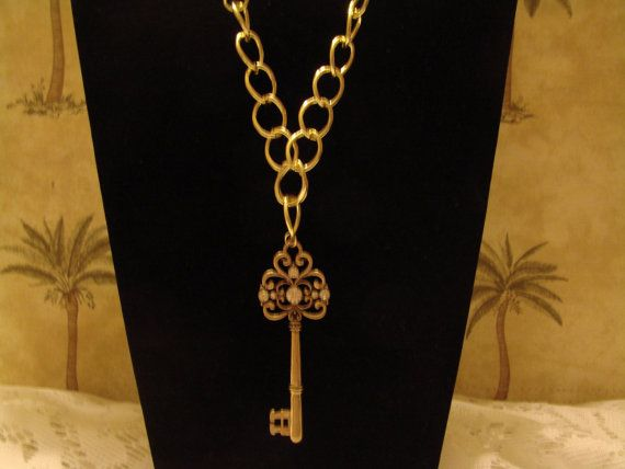 Gold Tone Key Pendant With Rhinestones Necklace by PatsTrinkets