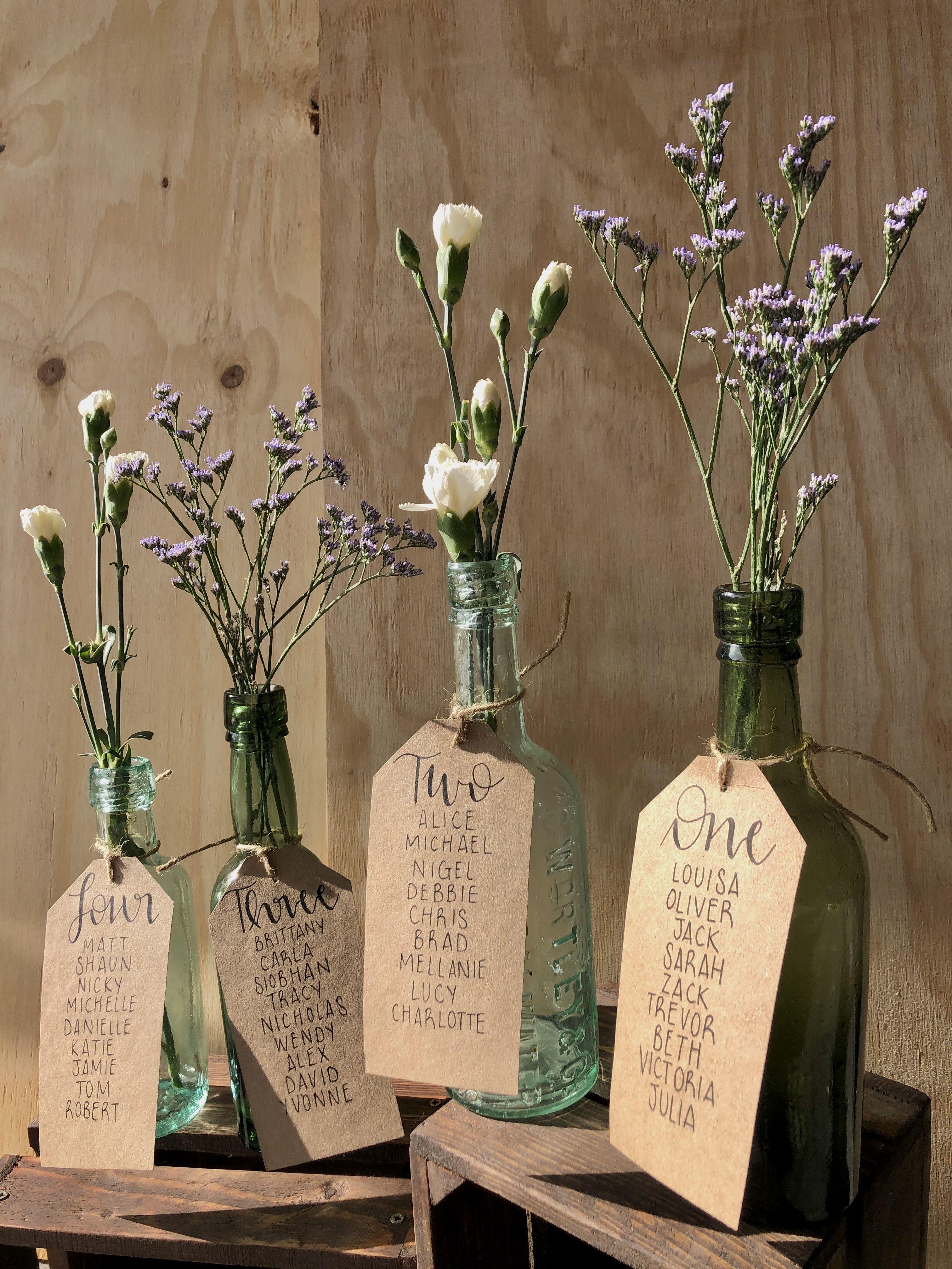 Antique Bottle Rustic Boho Wedding Seating / Table Plan Idea